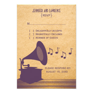 Violet Vintage Gramophone Response Card Personalized Invitations