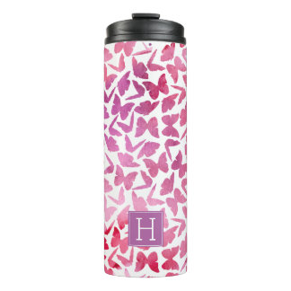 Violet Watercolor Butterflies Pattern Thermal Tumbler
