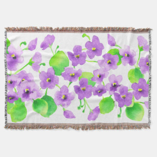 Violet watercolor Decorative Flower Pretty Classic Throw Blanket
