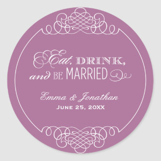 Violet Wedding Monogram | Eat Drink & Be Married Classic Round Sticker