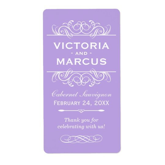Violet Wedding Wine Bottle Monogram Favour Labels