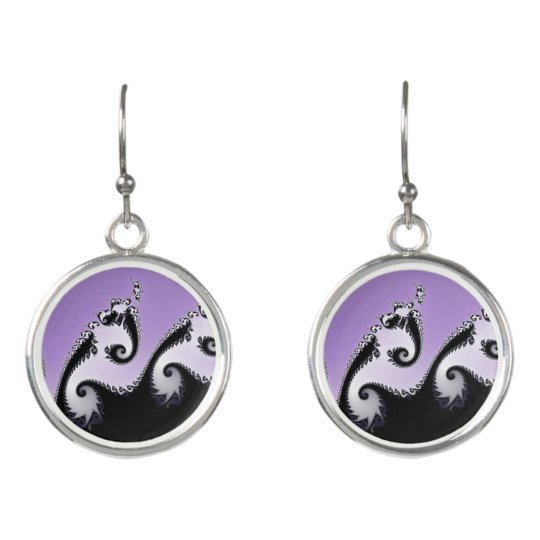 Violet, white and black fractal. earrings