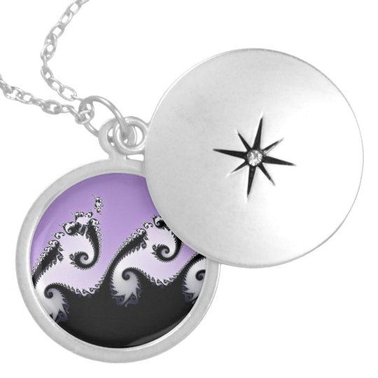 Violet, white and black fractal. locket necklace