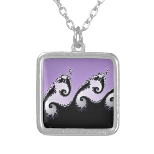 Violet, white and black fractal. silver plated necklace