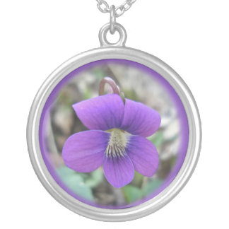 Violet Wildflower Coordinating Items Round Pendant Necklace