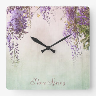 Violet wisteria blossom, personalised wall clock