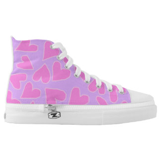 VIOLET WITH BARBIE PINK HEARTS HIGH-TOP SNEAKER