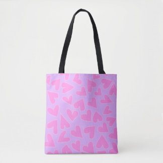 VIOLET WITH BARBIE PINK HEARTS TOTE BAG