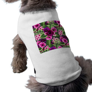 Violet X Pink Flowers Pattern Sleeveless Dog Shirt