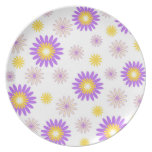 Violet yellow flowers dinner plates