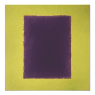 violet, yellow on green poster
