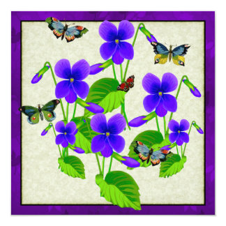 Violets and Butterflies 13 Cm X 13 Cm Square Invitation Card