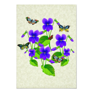 Violets and Butterflies 13 Cm X 18 Cm Invitation Card