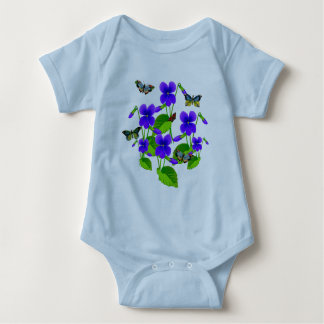 Violets and Butterflies Baby Bodysuit