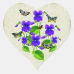 Violets and Butterflies Heart Sticker
