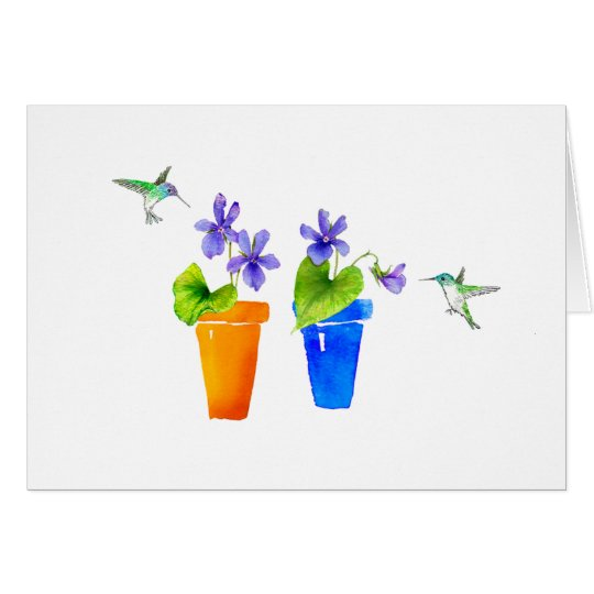 Violets and Hummingbirds Card