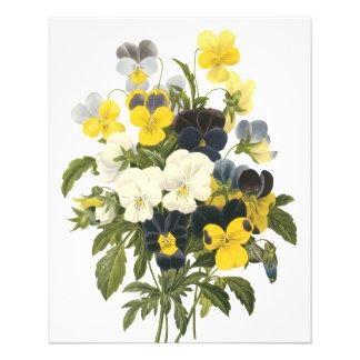 Violets and Pansy Flowers Botanical Art 11.5 Cm X 14 Cm Flyer