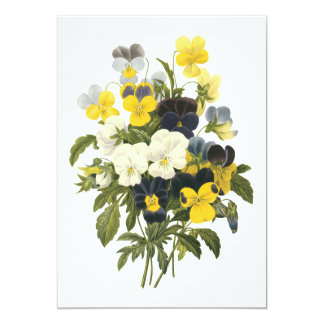 Violets and Pansy Flowers Botanical Art 13 Cm X 18 Cm Invitation Card