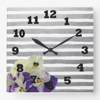 Violets and Purple Stripes Square Wall Clock