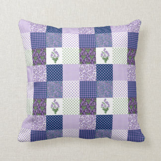 Violets Faux Patchwork with Checks and Polka Dots Cushion