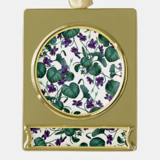 Violets Gold Plated Banner Ornament
