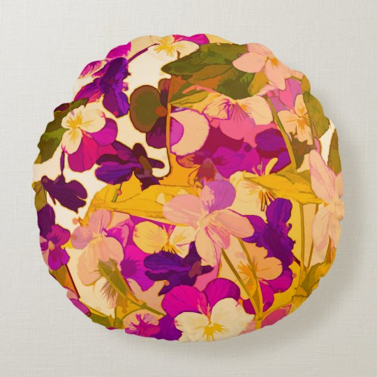 """Violets in the sun Round Throw Pillow (16"""")"""