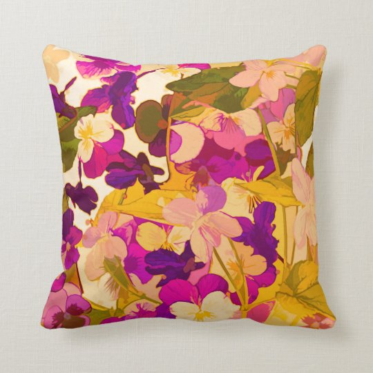 "Violets in the sun Throw Pillow 16"" x 16"""