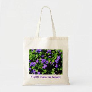 Violets make me happy! tote bag