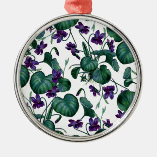 Violets Silver-Colored Round Decoration