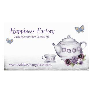 violets tea cup teapot butterflies business card