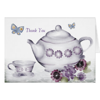 violets tea cup teapot butterflies thank you no... greeting card