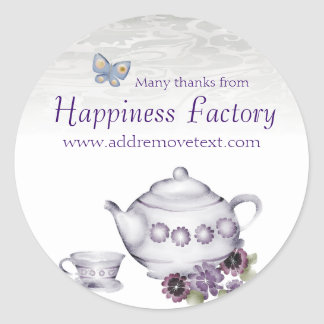 violets tea cup teapot gift tag sticker, Happin... Round Sticker