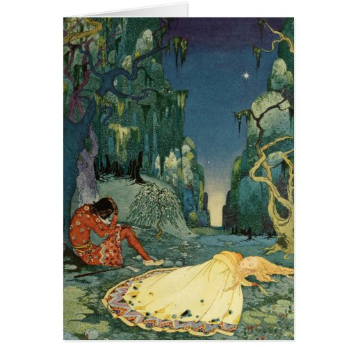 Violette sleeping in the forest card