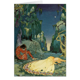 Violette sleeping in the forest greeting card