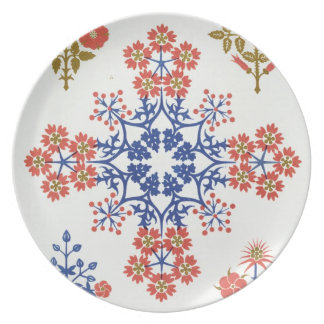 Violiet, iris and tulip motif wallpaper design, pr party plates