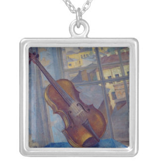 Violin, 1918 silver plated necklace