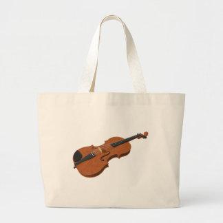Violin: 3D Model: Large Tote Bag