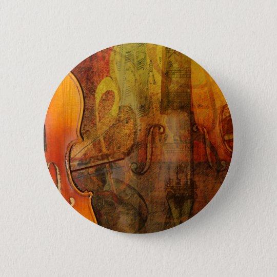 Violin Abstract 3 Warm Tones 6 Cm Round Badge