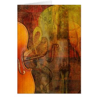 Violin Abstract 3 Warm Tones Greeting Card