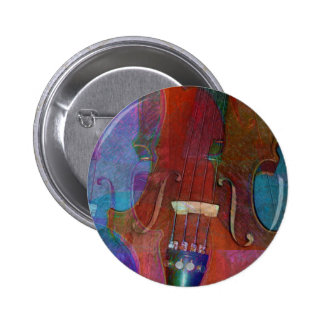 Violin Abstract Two 6 Cm Round Badge