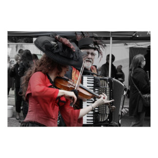 Violin and Accordion Player _ French festival Poster