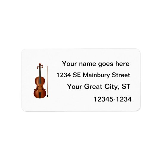 VIolin and bow realistic graphic Address Label