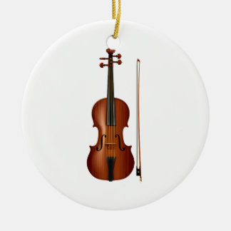 VIolin and bow realistic graphic Christmas Ornament