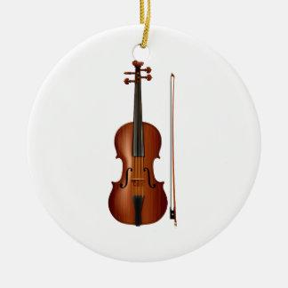 VIolin and bow realistic graphic Round Ceramic Decoration