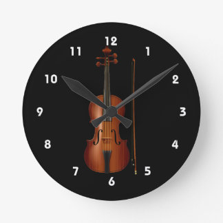 VIolin and bow realistic graphic Round Clock