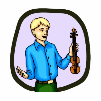 Violin and Boy Graphic Image Photo Sculpture