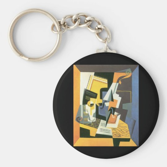 Violin and Glass by Juan Gris, Vintage Cubism Basic Round Button Key Ring