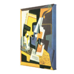 Violin and Glass by Juan Gris, Vintage Cubism Stretched Canvas Print