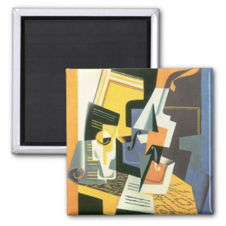 Violin and Glass by Juan Gris, Vintage Cubism Magnet