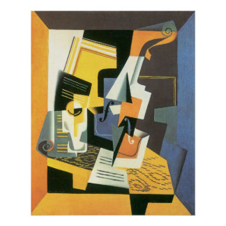 Violin and Glass by Juan Gris, Vintage Cubism Poster